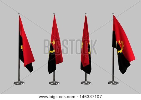 Angola indoor flags isolate on white background 3d rendering