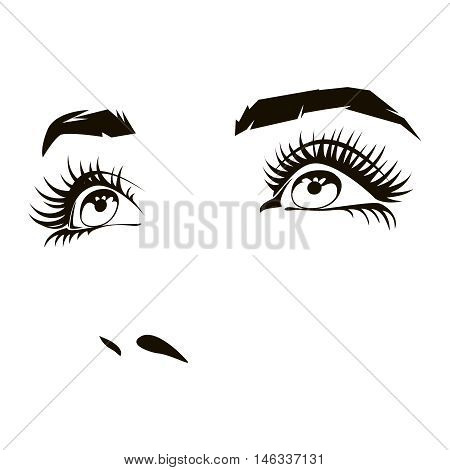 Beautiful woman face with expressive female eyes. Beauty expression, lady portrait. Vector illustration