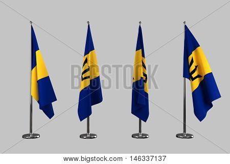 Barbados indoor flags isolate on white background 3d rendering