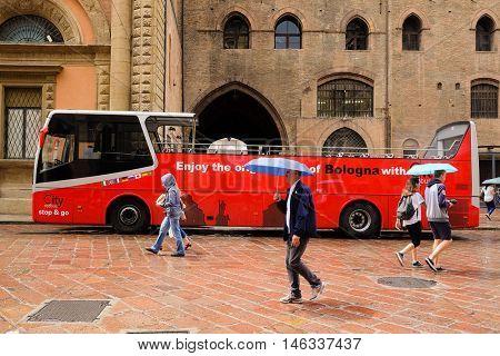 Bologna, Italy - June, 18, 2016: tourist bus in a center of Bologna, Italy