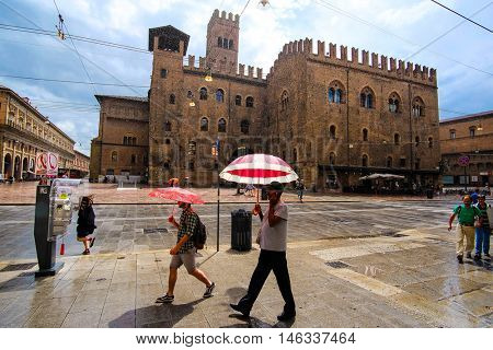 Bologna, Italy - June, 18, 2016: street in a center of an old town in Bologna, Italy