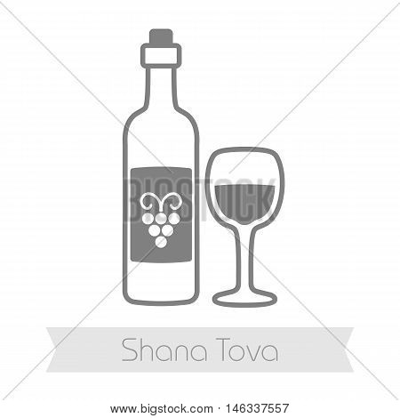 Bottle of wine and glass. Rosh Hashanah icon. Shana tova. Happy and sweet new year in Hebrew