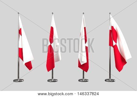 Greenland indoor flags isolate on white background