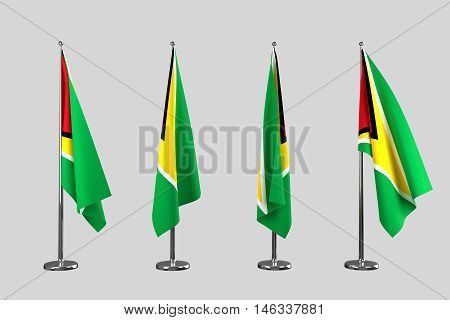 Guyana indoor flags isolate on white background