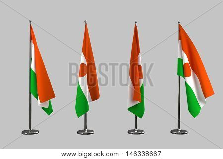 Niger indoor flags isolate on white background 3d rendering