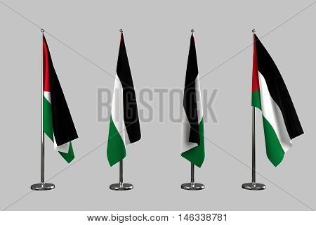 Palestine indoor flags isolate on white background 3d rendering