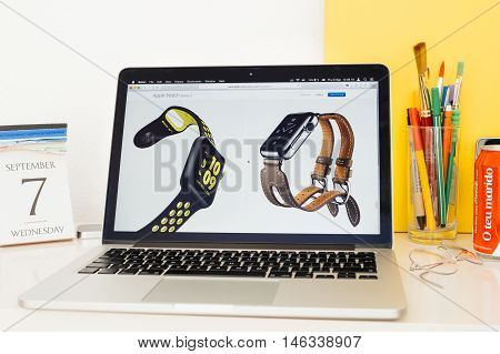 PARIS FRANCE - SEP 8 2016: Apple Computers website on MacBook Pro Retina in a geek creative room environment showcasing new Apple Watch Series 2 Nike and Hermes