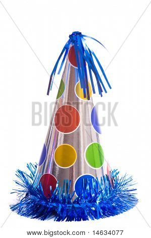 Birthday party hats on a white background