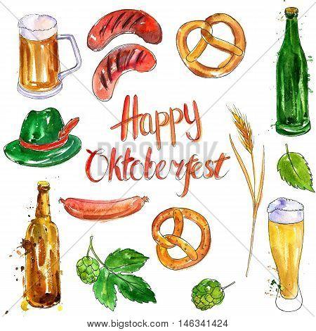watercolor oktoberfest set, mugs and glasses of beer, hop plant, snacks, sausages and pretzels, hand drawn illustration