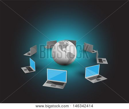 Concept of management information systems, Vector illustration of Laptops connecting each other and sharing data through a global network