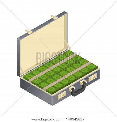 Suitcase With Money Isometric. Case With Cash. Suitcase With Dollars. Wad Of Currency. Financial Ill