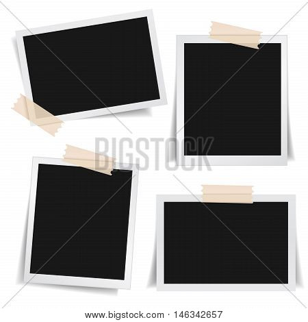 Collection of blank photo frames with adhesive tape different shadow effects and empty space for your photograph and picture. EPS 10 vector illustration on white background.