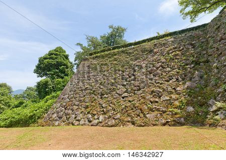 Stone walls (ishigaki) of Uwajima castle (circa 16th c.) Shikoku Island Japan. Uwajima is one of only 12 survived castles in Japan