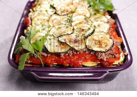 vegetable and beef gratin