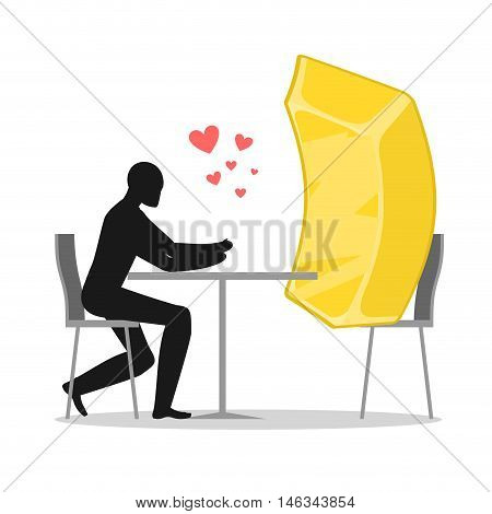 Lover Gold. Lovers In Cafe. Man And Gold Bar Sits At Table. Wealth In Restaurant. Romantic Date In P