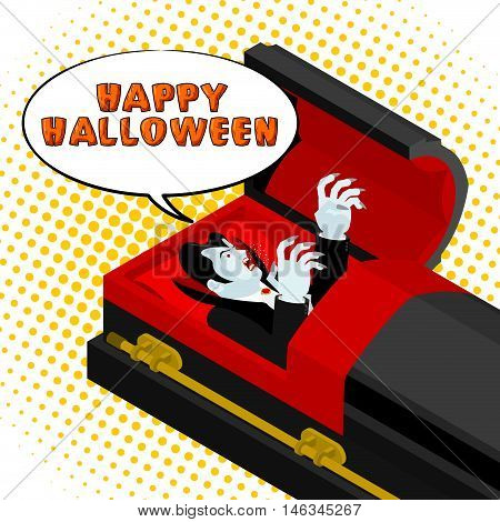 Happy Halloween Dracula Screams From Grave. Vampire In An Open Coffin. Illustration For Terrible Hol