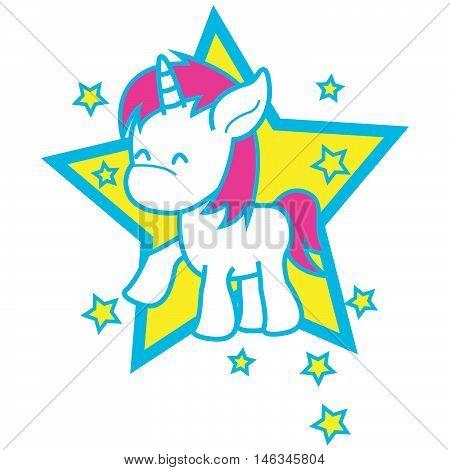 Unicorn of vector art illustration tshirt design