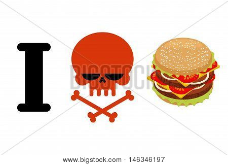 I Hate Hamburger. Skull Symbol Of Hatred And Great Burger. I Do Not Like Fast Food. Logo For Healthy