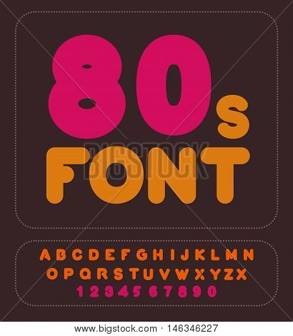 80S Font. Retro Alphabet. Vintage Rounded Alphabet. Disco Letters. Hipster Lettring. Old Typography