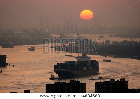 Harbor Rotterdam Sunset
