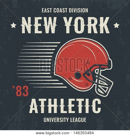 New York Vintage T-shirt Graphics, Design, Print, Typography, Label With Football Helmet. Vector Ill