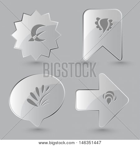 4 images: monetary sign, bird, plant, bee. Abstract set. Glass buttons on gray background. Vector icons.