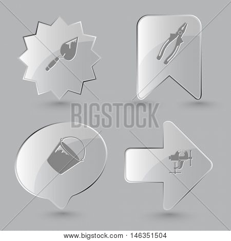 4 images: trowel, pliers, bucket, clamp. Industrial tools set. Glass buttons on gray background. Vector icons.
