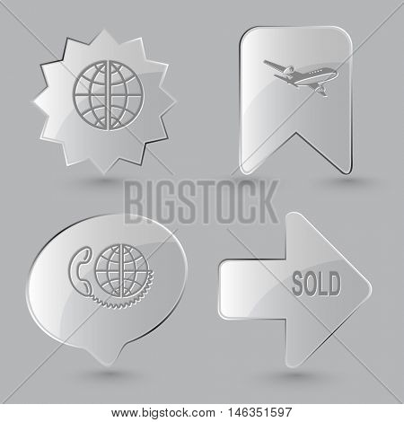 4 images: globe, airliner, global communication, sold. Business set. Glass buttons on gray background. Vector icons.