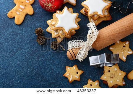 Christmas Gingerbread Cookies, New Year Balls And Rolling Pin