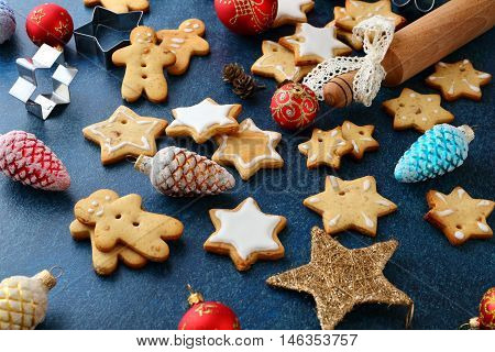 Christmas Cookies With Ginger And New Year Bauble