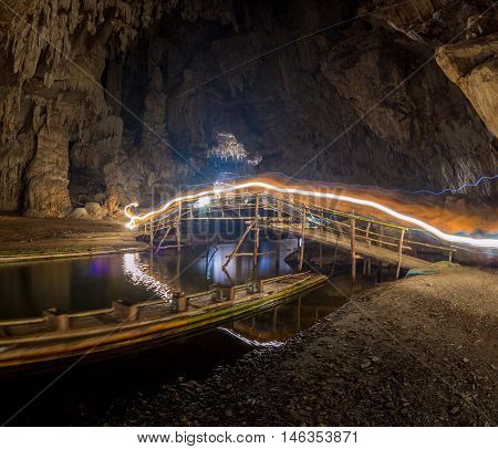 Sun Light in the cave at Khaoluang, Phetchaburi Province, Thailand