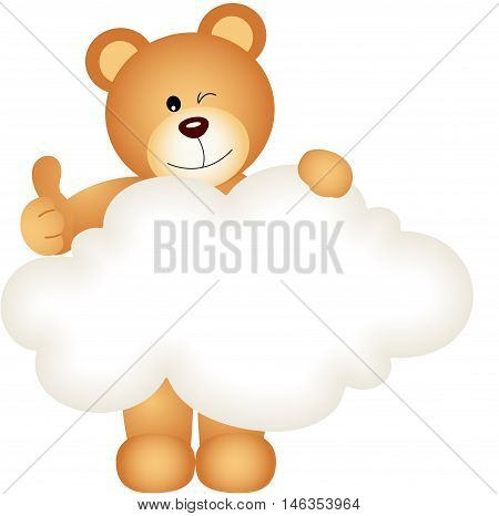 a teddy bear holding blank cloud, isolated on white.