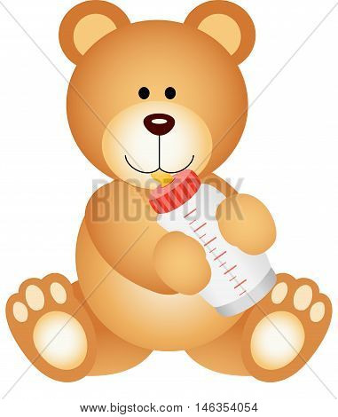 A teddy bear baby drinking milk from bottle, isolated on white.
