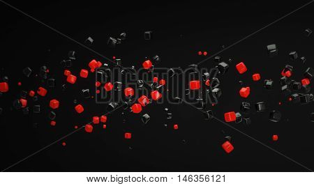 abstract red atom nano technology particle background 3d rendering