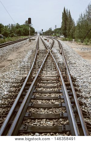 Junction Of Railway Track With Green Tree At Left And Right Side Of Railway.filtered Image.choose Fo