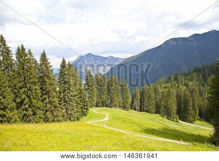 Beautiful view at mountains in summer in Tirol Austria