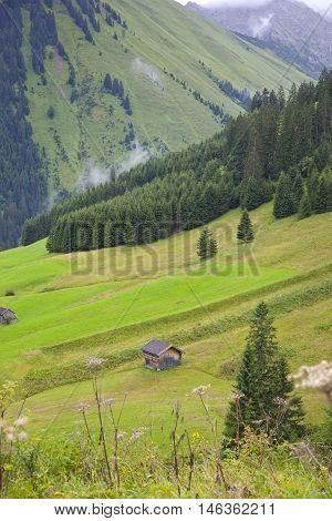 Little hut in green mountains of Austria