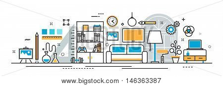 Flat line vector design illustration concept of interior design process furniture painting construction decoration for website banner header and landing page linear icons and infographics