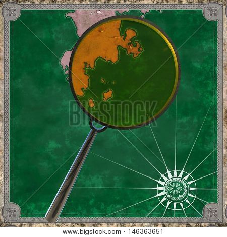 Pirate map of the unknown land with magnifying glass 3d rendering
