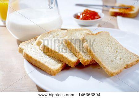 Closeup of fresh sliced bread