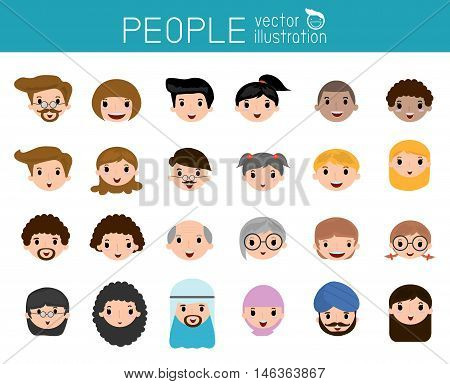 Set of cartoon people head, people head icon cartoon person face icon, people face, people and different nationalities , Vector Illustration