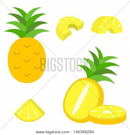 vector pineapple and slice pineapple icon set, flat style