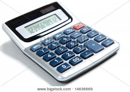 A blue buttoned calculator on a white background