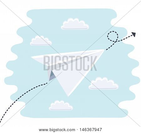 Vector cartoon illustration of cute paper toy planes flight path is indicated by the dotted line and arrow. Blue sky and clouds.