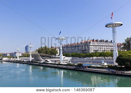LYON FRANCE - AUG 31 2016: centre Nautique at the Rhone river in Lyon France under blue sky.