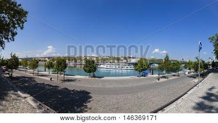 Promenade At River Rhone In Lyon