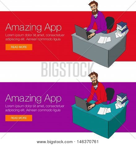 Vector illustration of workplace and coworking. Social network and web icons. Vector banner of cloud sharing technology and service. Character UX designer man in hackathon