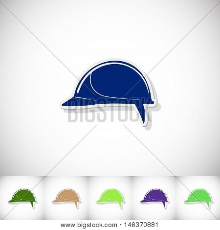 Helmet building. Flat sticker with shadow on white background. Vector illustration