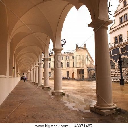 Colonnade at the Castle Stallhof in Dresden Germany