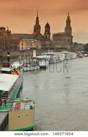 flood in Dresden 2013 Elbe river in Dresden Saxony